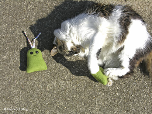 My cat playing with fleece catnip toys by Elizabeth Ruffing