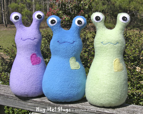 Fleece Hug Me Slugs by Elizabeth Ruffing