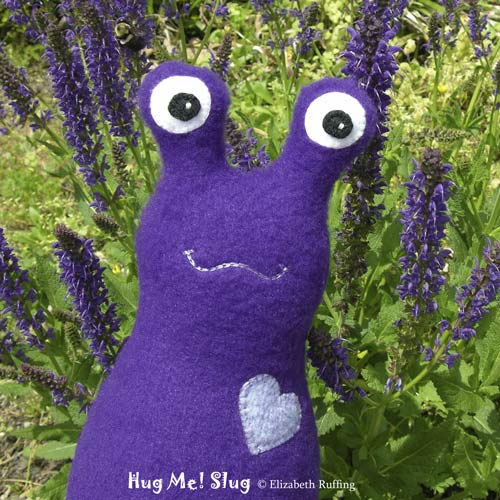 Dark purple Fleece Hug Me Slug by Elizabeth Ruffing