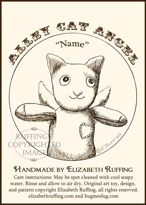 Alley Cat Angel Hug Me Sock Kitten Hang Tag by Elizabeth Ruffing