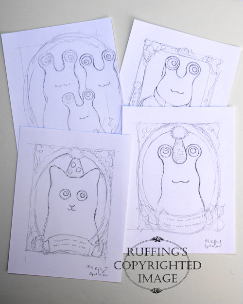 Hug Me Slug and Hug Me Kitten pencil drawings by Elizabeth Ruffing