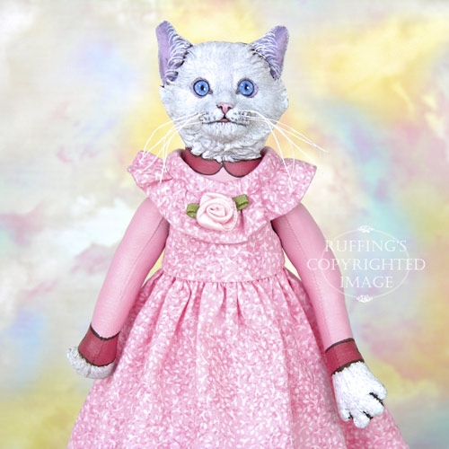 Lillie original one-of-a-kind anthropomorphic whte cat art doll by artist Max Bailey, Ruffing's