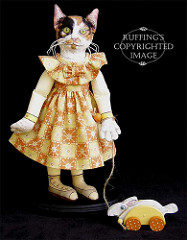 Hedda and Hopper, Original One-of-a-kind Calico Cat Art Doll with White Rabbit by Max Bailey