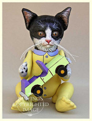 Ziggy the Tuxedo Kitten, Original One-of-a-kind Art Black-and-white Cat Doll by Elizabeth Ruffing