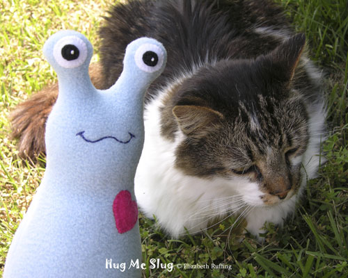 Light Blue Fleece Hug Me Slugs by Elizabeth Ruffing