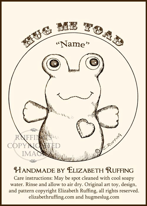 Hug Me Sock Toads by Elizabeth Ruffing, hang tag