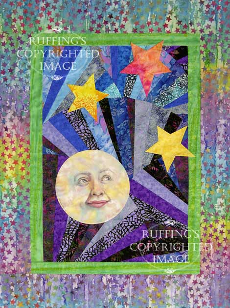 Stargazer Moon and Stars art quilt from batik fabrics by Elizabeth Ruffing