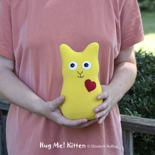 Lemon yellow fleece Hug Me Kitten by Elizabeth Ruffing
