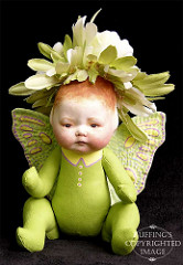 Greta the Flower Baby, Original One-of-a-kind Folk Art Fairy Doll by Elizabeth Ruffing
