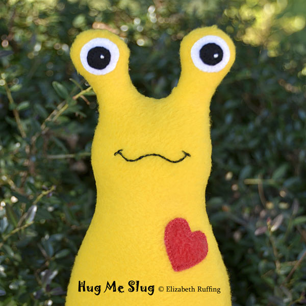 Yellow Fleece Hug Me Slug by Elizabeth Ruffing