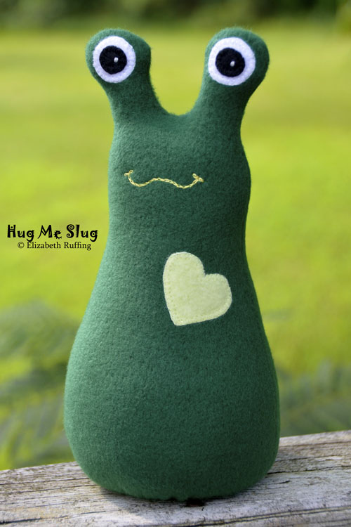 Forest green fleece Hug Me Slug by Elizabeth Ruffing