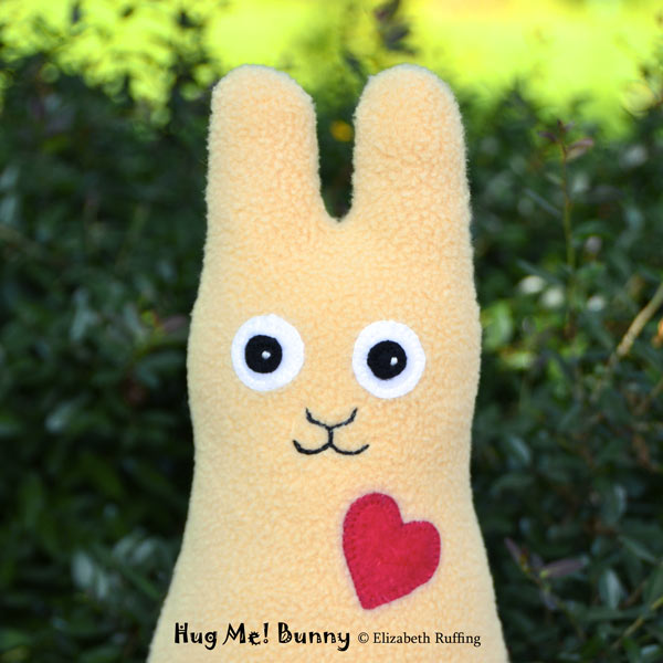 Light camel fleece Hug Me Bunny Rabbits by Elizabeth Ruffing