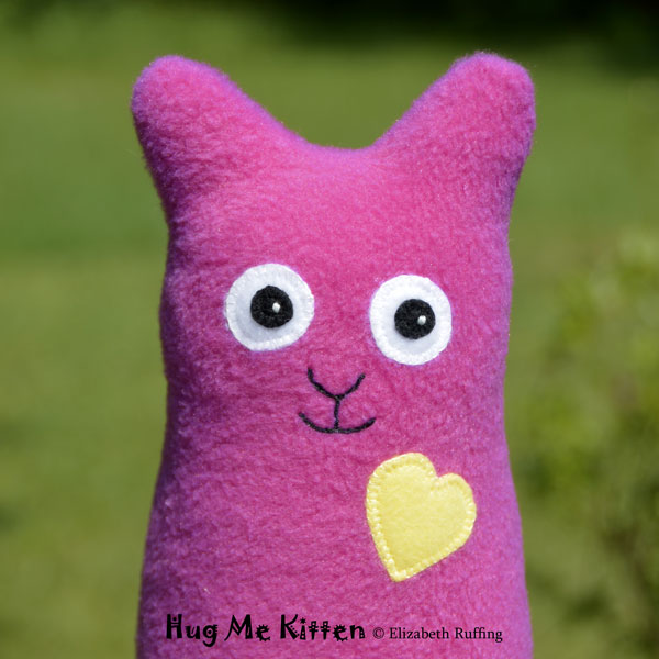 Dark berry pink fleece Hug Me Kitten by Elizabeth Ruffing