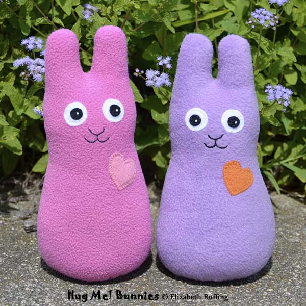 Mauve-pink and lavender fleece Hug Me Bunnies by Elizabeth Ruffing