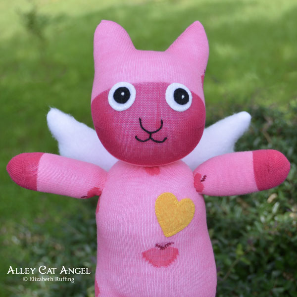 Pink Alley Cat Angel Sock Kitten by Elizabeth Ruffing