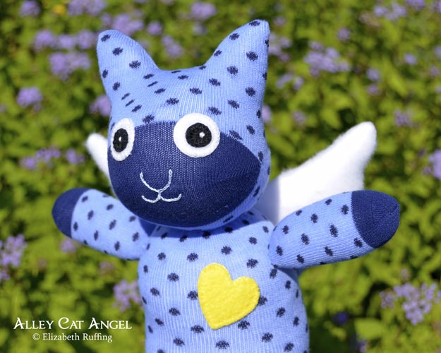 Blue polka-dotted Alley Cat Angel Sock Kitten by Elizabeth Ruffing