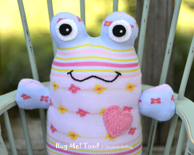 Hug Me Sock Toad, Lavender, light blue, pink, and yellow by Elizabeth Ruffing