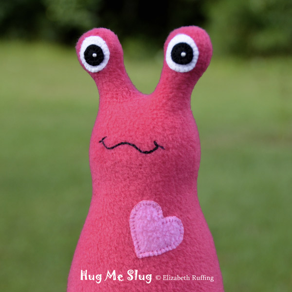Fleece Hug Me Slugs, Dark Pink and Medium Pink, by Elizabeth Ruffing