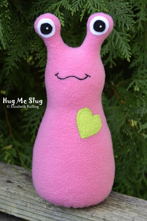 Fleece Hug Me Slugs, Pink and light green, by Elizabeth Ruffing