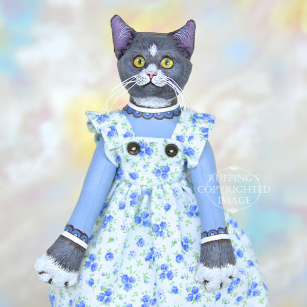 Ida original one-of-a-kind gray-and-white cat art doll by artist Max Bailey