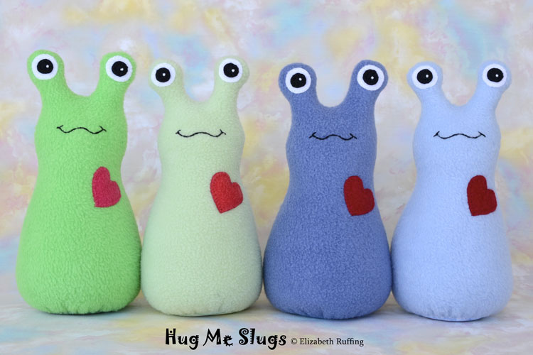 Assorted Fleece Hug Me Slugs by Elizabeth Ruffing