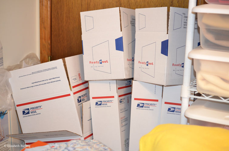 Mailing boxes pile