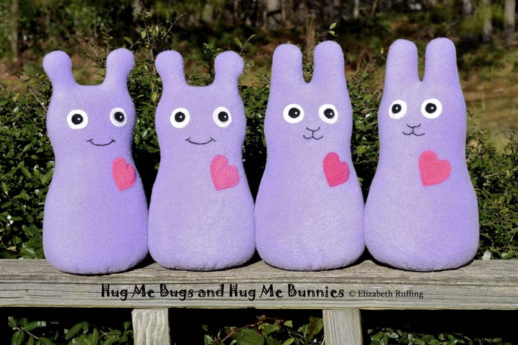 Fleece Hug Me Bug and Hug Me Bunny Art Toys by Elizabeth Ruffing, lavender