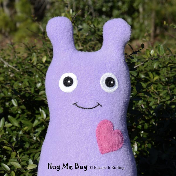 Fleece Hug Me Bug Art Toy by Elizabeth Ruffing, lavender