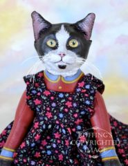 Echo original one-of-a-kind black-and-white tuxedo cat art doll by artist Max Bailey
