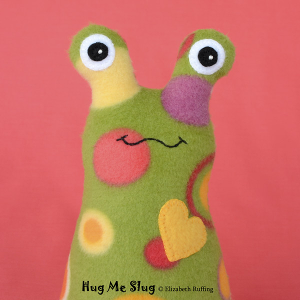 Green Polka Dotted Fleece Hug Me Slug, Original Art Toy by Elizabeth Ruffing