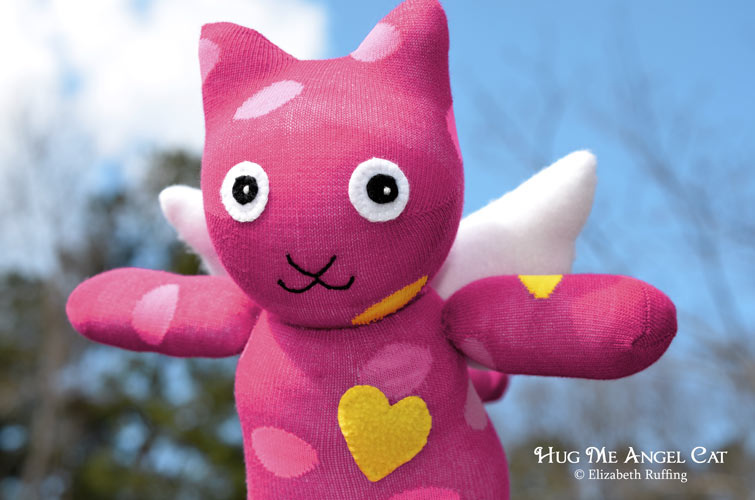 Magenta Hug Me Angel Cat Sock Kitten with yellow and pink polka dots, original art toy by Elizabeth Ruffing