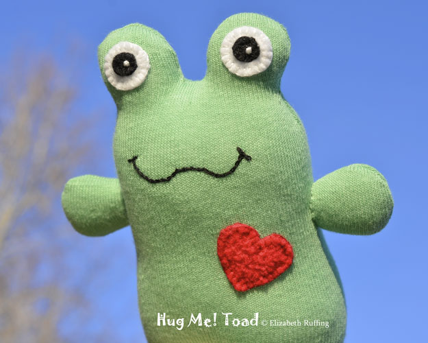 Green and Red Sock Toad, original art toy by Elizabeth Ruffing