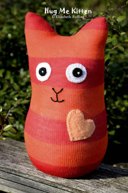 Red and Orange Striped Hug Me Sock Kitten, original art toy by Elizabeth Ruffing