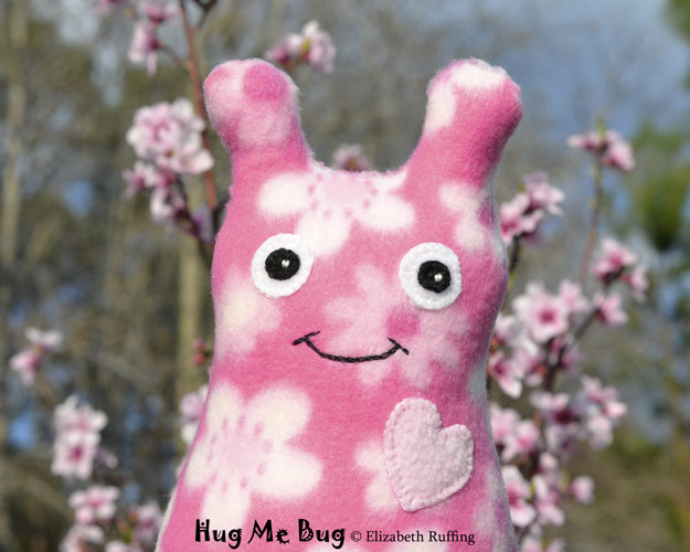 Light Yellow Fleece Hug Me Bug, original art toy by Elizabeth Ruffing