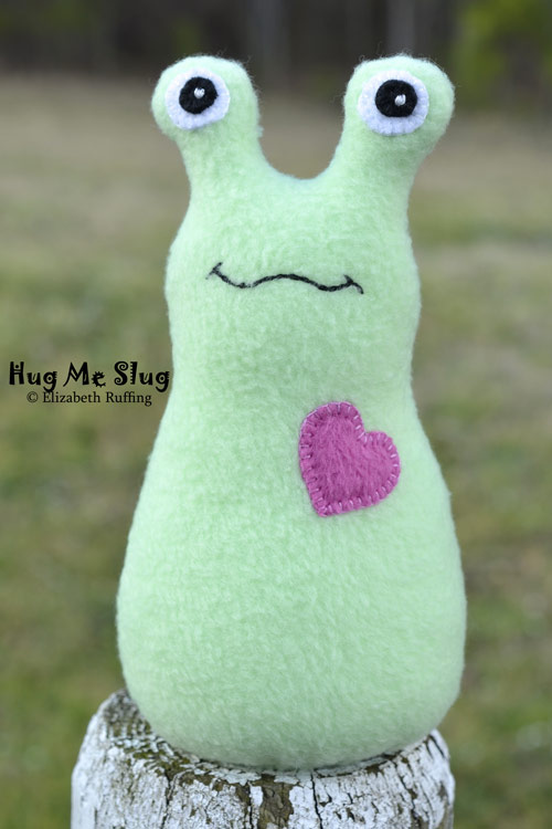 Mint Green Fleece Hug Me Slug, original art toy by Elizabeth Ruffing
