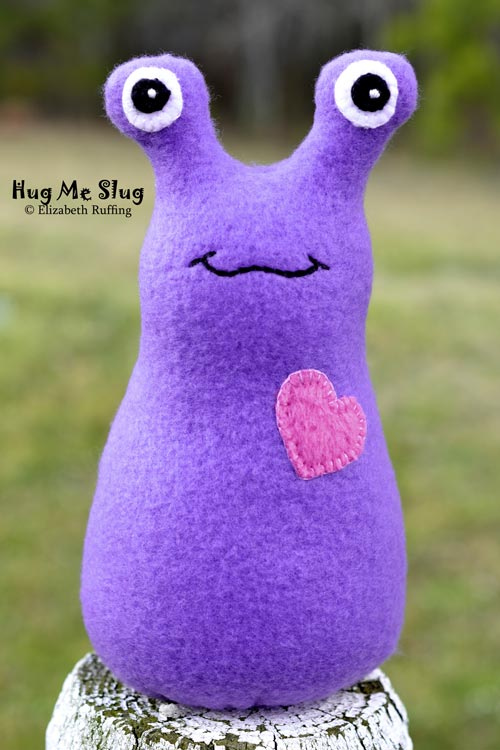 Purple Fleece Hug Me Slug, original art toy by Elizabeth Ruffing