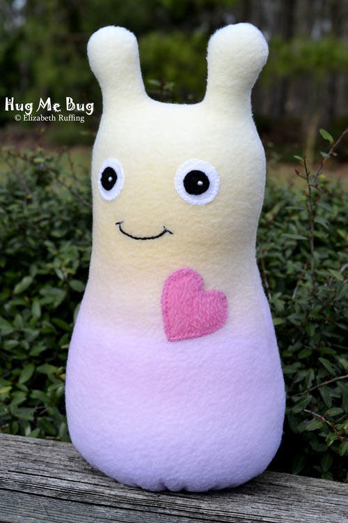 Rainbow Blend Fleece Hug Me Bug, original art toy by Elizabeth Ruffing