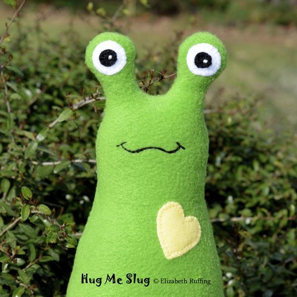 Grass Green Fleece Hug Me Slugs, original art toys by Elizabeth Ruffing