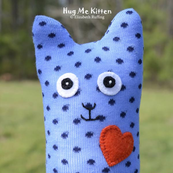 Blue Polka Dotted Hug Me Sock Kitten, original art toys by Elizabeth Ruffing
