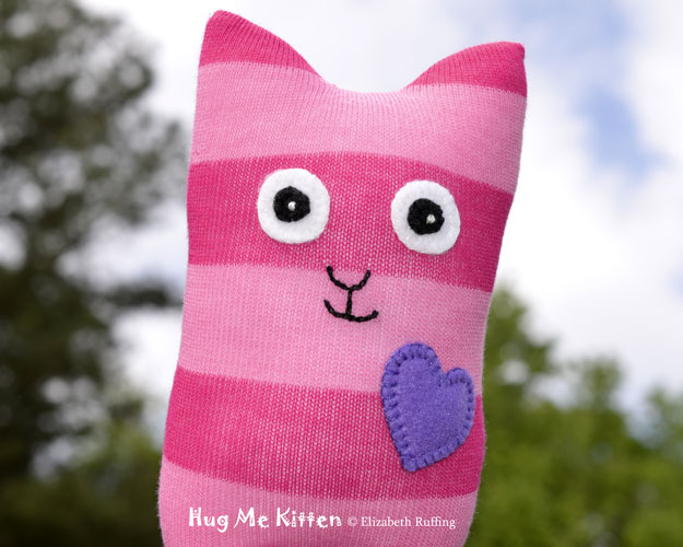 Pink striped Hug Me Sock Kitten, original art toy by Elizabeth Ruffing