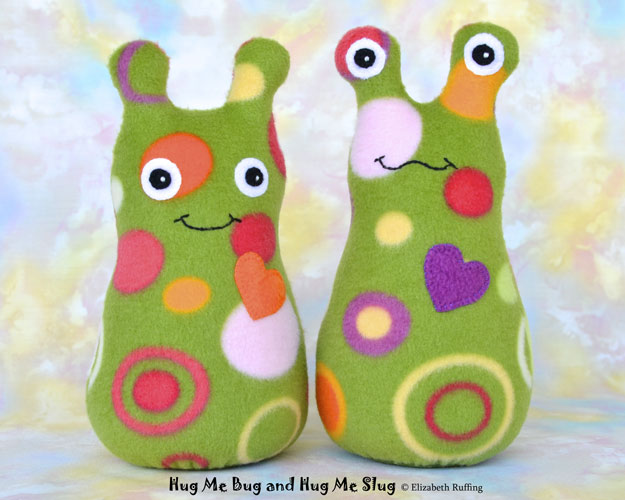 Green Polka Dot Hug Me Bug and Hug Me Slug, original art toys by Elizabeth Ruffing