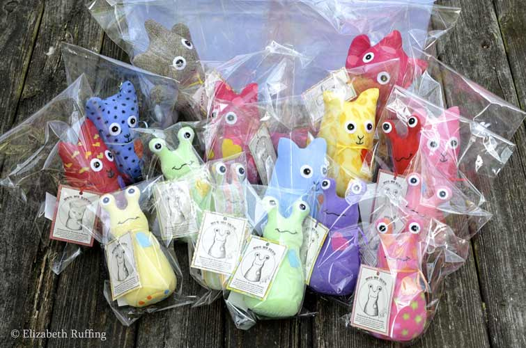 Hug Me Slugs and Hug Me Sock Kittens, original art toys by Elizabeth Ruffing
