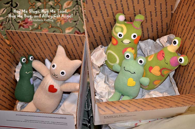 Hug Me Slugs, Hug Me Bugs, and Hug Me Toad, original art toys by Elizabeth Ruffing
