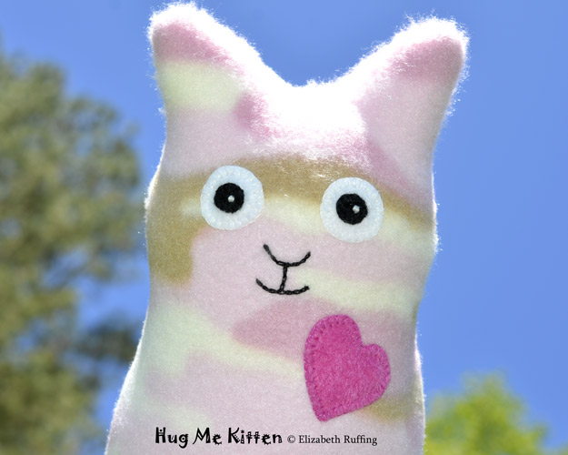 Pink fleece camouflage Hug Me Kitten, original art toy by Elizabeth Ruffing