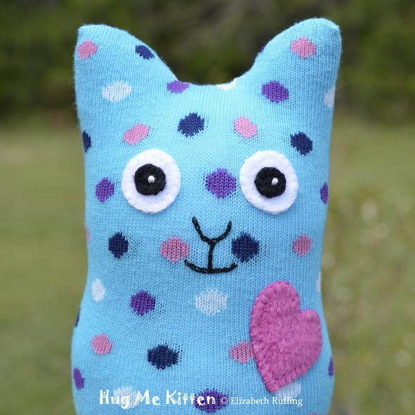 Turquoise Polka Dotted Hug Me Sock Kitten, original art toy by Elizabeth Ruffing