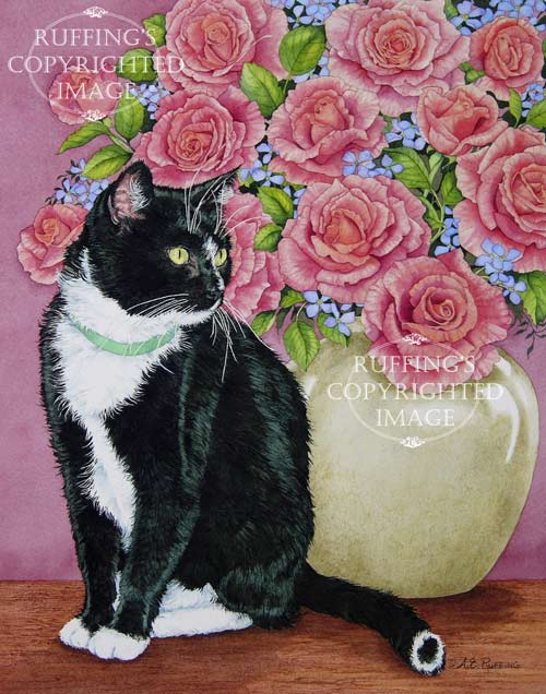 Tuxedo and Roses by A E Ruffing