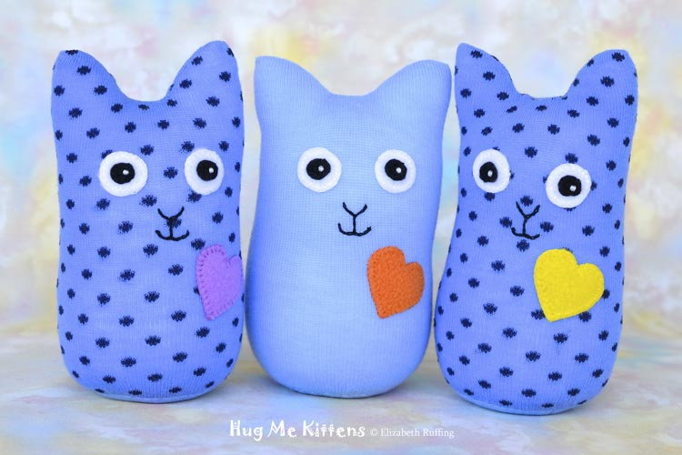 Blue Hug Me Sock Kittens, original art toys by Elizabeth Ruffing