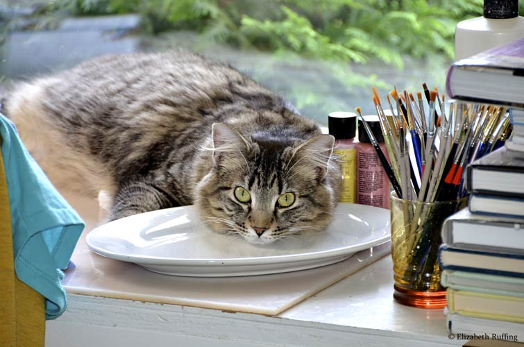 Tabby cat helper with art supplies by Elizabeth Ruffing