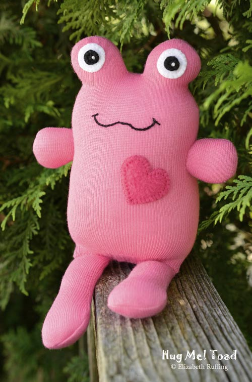 Pink Hug Me Sock Toad, original art toy by Elizabeth Ruffing