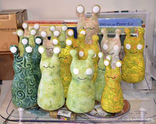 Batik Hug Me Slugs and Hug Me Bugs, original art toys by Elizabeth Ruffing